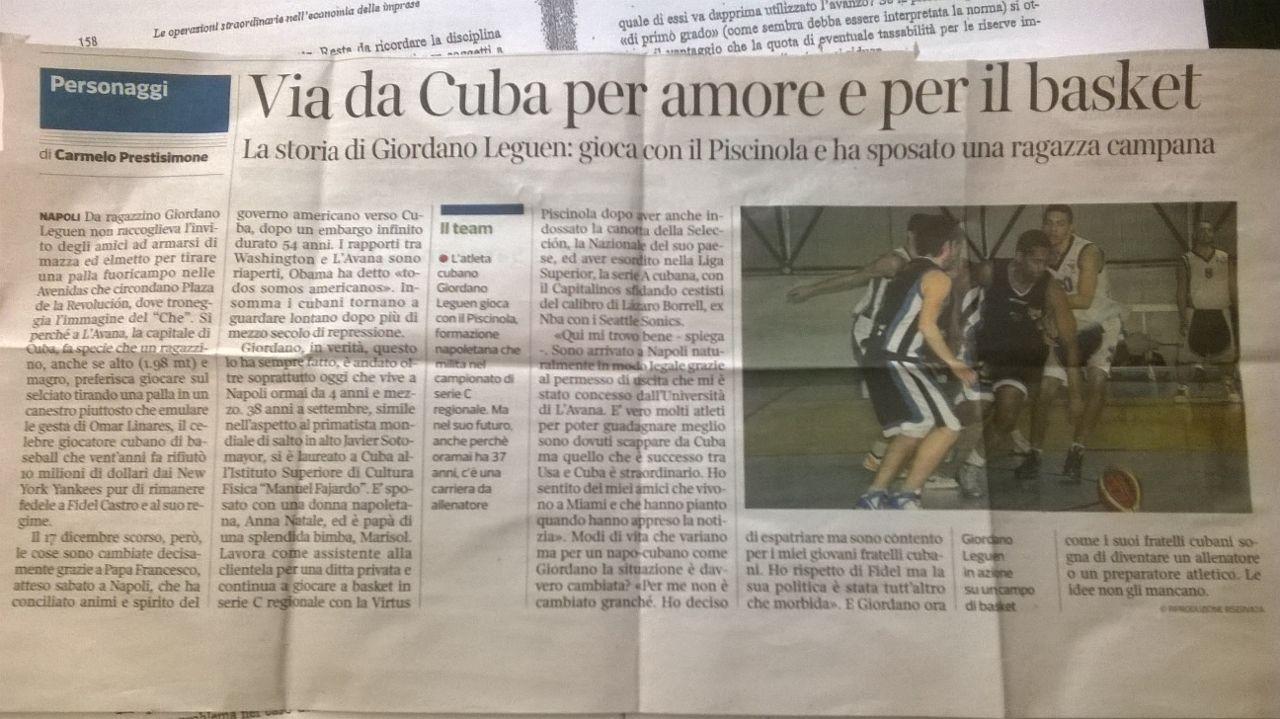 GIORDANO LEGUEN IL GIOCATORE CUBANO DELLA VIRTUS PISCINOLA